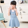 2016 New Kids Girls Jeans Skirt Baby Girl Denim Skirt Cute Cat Girls Denims Suspenders Overalls Baby Girl 2-6Years cartoon Skirt