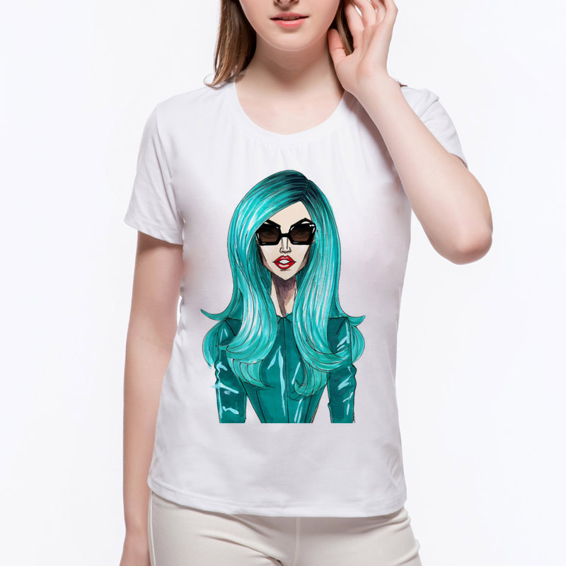 2018 Promotion Hot Sale Fashion Lady Gaga T shirt Tailored Shirts Womens O-neck Funny Short Sleeve T Shirt N12-39#