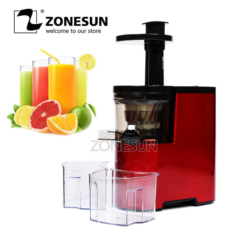 New ZONESUN Slow Juicer Fruits Vegetables Low Speed Juice Extractor 100% Juicer new hurom slow juicer hue21wn fruits vegetable low speed juice extractor make ice cream juicer