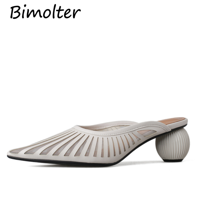 Bimolter 2019 Mules Shoes Women Strange High Heels Pointed Toe Party Wedding Shoes Woman Sexy High Quality Slingback Pumps NC096