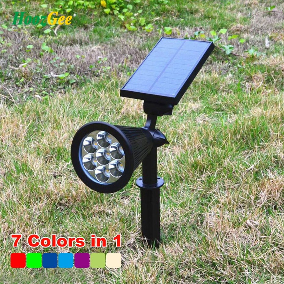 HoozGee 7 LED Spotlight Outdoor Solar Panel Power