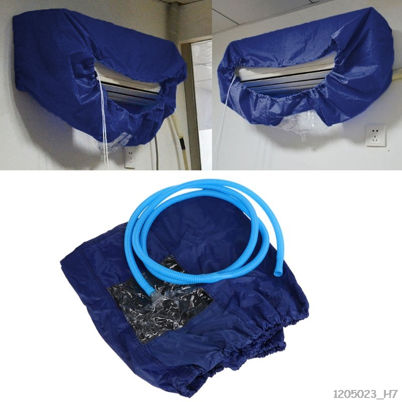 Blue Air Conditioner Cleaning Dust Washing Cover Clean Waterproof Protector Cap With 3m Water Pipe Tool|Air Conditioner Covers| |  - title=
