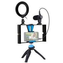 Fotografia Selfie lampa pierścieniowa z uchwyt na telefon komórkowy stojak trójnóg mikrofon kamera LED do transmisji na żywo makijaż Vlogging wideo