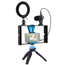 Fotografia selfie anel de luz com suporte do telefone celular tripé microfone led câmera para live stream maquiagem vlogging vídeo