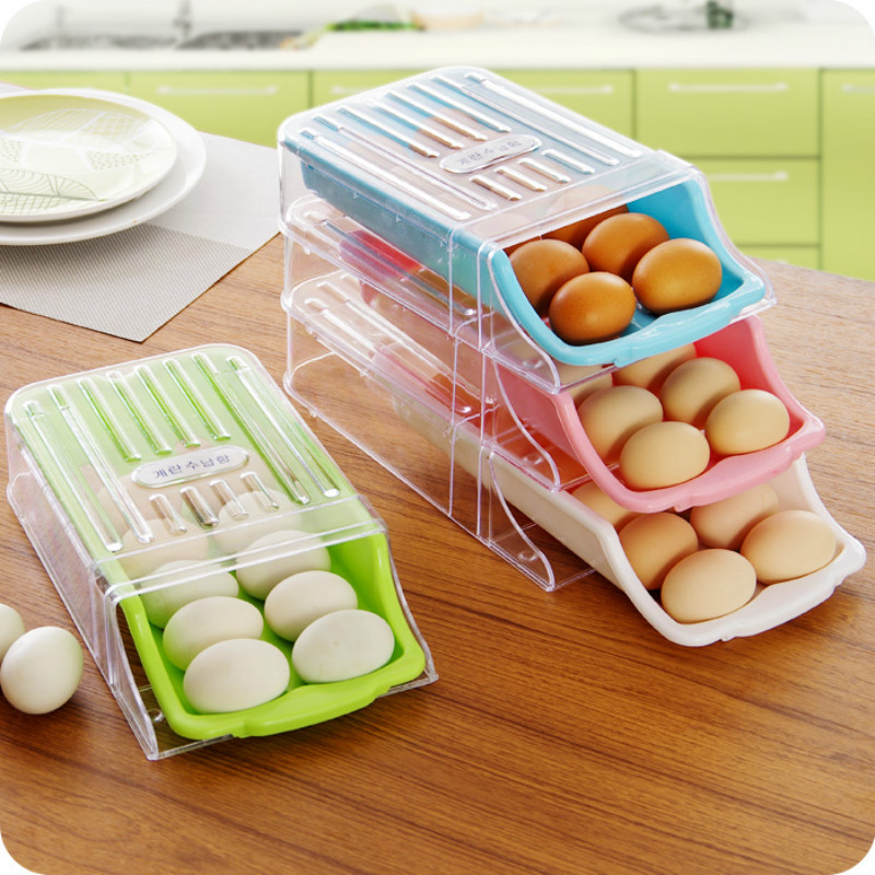 Refrigerator Drawer Type Egg Storage Box 2017 New arrival Easy To Pick Up Eggs Fresh Storage Shelf Kitchen Cleaning Organizer