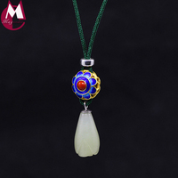 Chinese Style Fashion Cloisonn Jade Pendant Necklace Women 100% Real Sterling Silver 925 Jewelry New Adjustable Rope Chain SN07