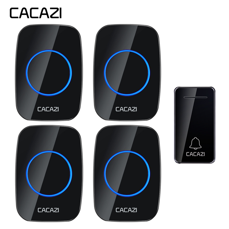 CACAZI Self powered Wireless Doorbell Waterproof No battery 1 Button 4 Receiver US EU UK Plug