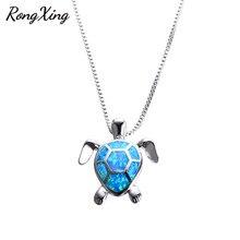RongXing 925 серебро синий огненный опал кулон черепаха& ожерелье s для женщин Свадебные ювелирные изделия ожерелье в виде животного NL0070