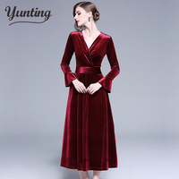 Plus Size 2XL Women Winter Dress Long Velvet Dresses Elegant Ladies Formal Party velours Dresses