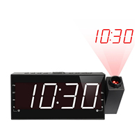 FM Digital Dimmable Projection Alarm Clock Radio with 1.8inch LED Display,USB Charging,Dual Alarm,Battery Backup