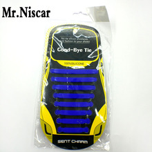 Mr.Niscar 1Set/16Pcs Blue Creative Elastic Silicone Shoelaces Lazy Shoe Laces Children Adults All Sneaker Straps No Tie Shoelace
