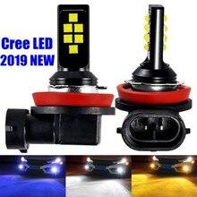 2 sztuk H8 światła przeciwmgielne Led Chip Cree LED 1200LM 6000K biały żółty niebieski samochód jazdy Foglamps lampa światła Led samochodowe 12V