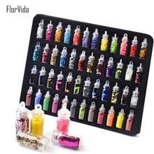 Florvida 48 bottles/Set Nail Glitters Powder Beauty Women Decoration Heart Star Design Sequins Mini Bottle Art Charm