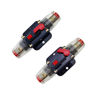 Car Auto Accessory DC 12V 40 Amp Audio Stereo Circuit Breaker Manual Reset Replace Fuse Holder For System Protection image