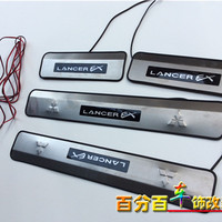 For 2010 2013 Mitsubishi Lancer/Lancer X/Lancer Evo With Blue LED light High quality stainless steel Scuff Plate/Door Sill