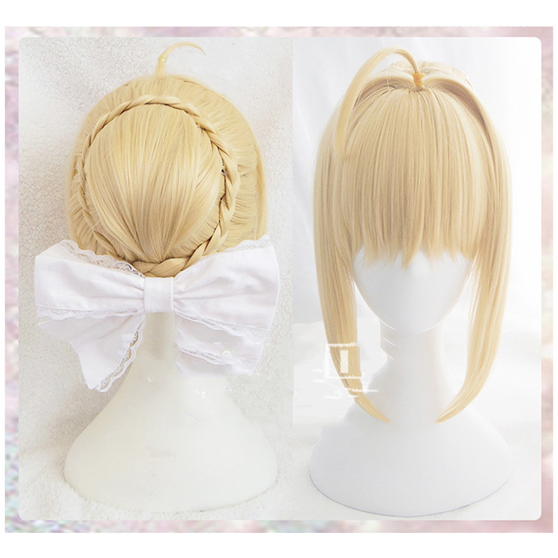 Fate/stay Night Arturia Pendragon Saber Wig Blonde Styled Updo Cosplay Full Wigs+ Wig Cap
