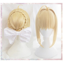 Fate/stay night Arturia Pendragon Saber Pruik Blonde Gestyled Opgestoken Cosplay Volledige Pruiken + Pruik Cap(China)