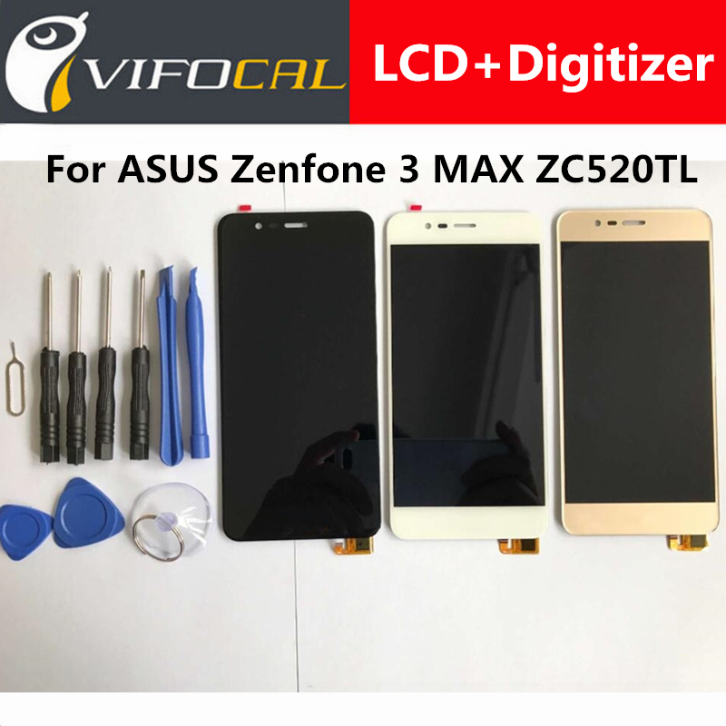 LCD Display + Touch Screen 100% New Digitizer Assembly Replacement Repair Accessories For ASUS Zenfone 3 MAX ZC520TL touch screen lcd display for bluboo maya max 6 0 inch touch panel digitizer assembly replacement accessories repair tools