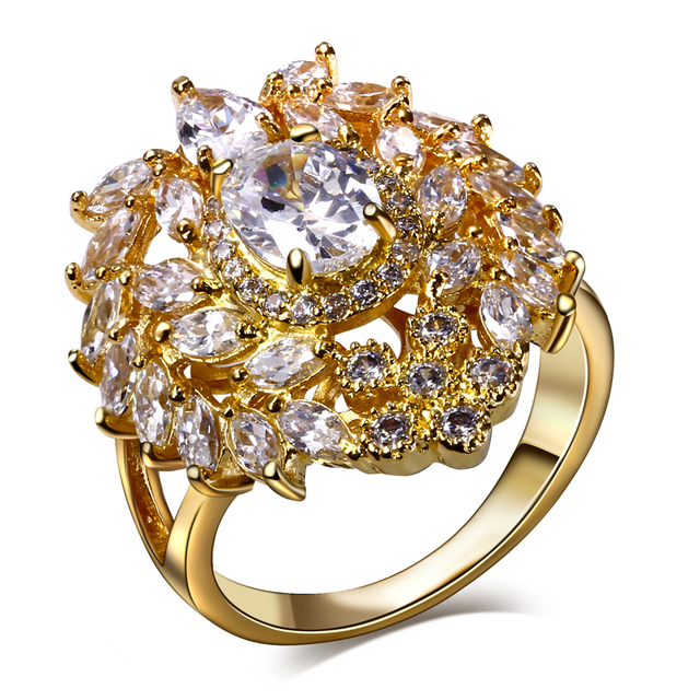 lan palace bagues de luxe marque femmes AAA Cubic Zirconia wedding jewelry gold plated natural stone ring  free shipping