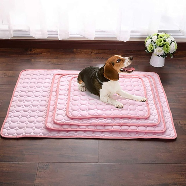 Pet Soft Summer Cooling Mats Blanket Pet Dog Self Cooling Mat Pad Summer Car Seat Ice Silk Mat Pet Cooling Non Sticking Blanket 3