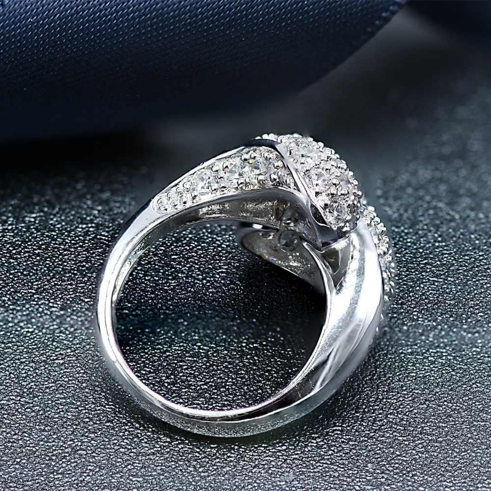 Hutang จริง 925 เงินสเตอร์ลิงแหวน cubic zirconia luxury แหวนสำหรับผู้หญิงหมั้นของขวัญปาร์ตี้เครื่องประดับ fine 2018