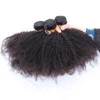 Afro Kinky Curly Hair 3 Bundles Brazilian Human Hair Weave Bundles 10 28 Inch Natural Color
