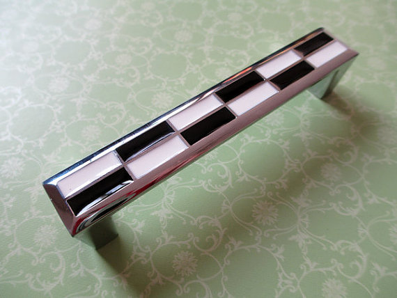 3.75 Mosaic Dresser Drawer Pull Handles Black White Cabinet Door Handle Silver Chrome Square / Gingham Modern Furniture Knobs high end sus 304 stainless steel knobs modern cabinet door drawer handle furniture wardrobe and handles bathroom dresser pull