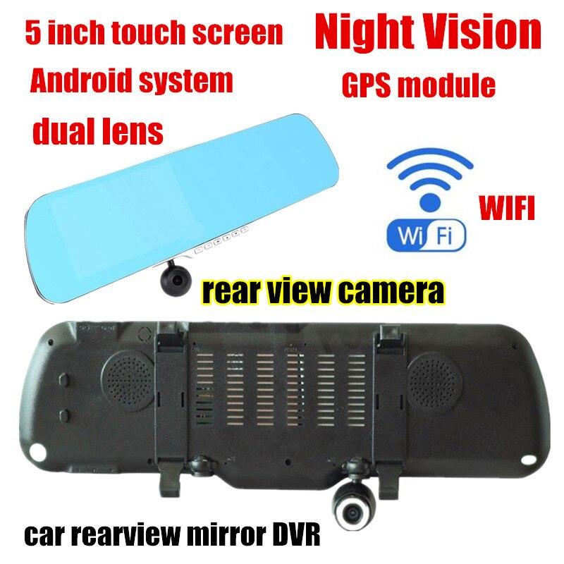 Dual lens 5 pollici Allwinner A10 per Android auto Specchietto retrovisore DVR GPS anteriore 140 gradi e posteriore 120 gradi angolo di visione
