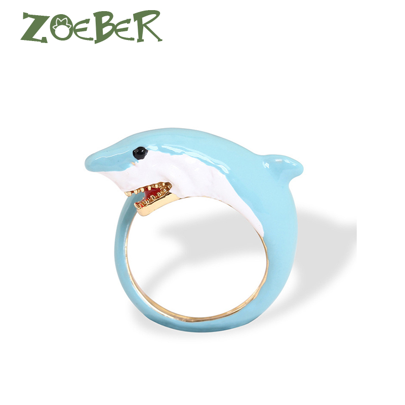 Zoeber Fashion Jewelry Blue Shark Ring Emotion Feeling 3D Enamel Glaze Adjustable Ring New Women's Summer RJ2130 discount price unicorn blue gem luxury enamel glaze white horseopening ring adjustable women ring jewelry