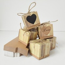 50pcs Kraft Paper Candy Box Rustic Wedding Favors Love Heart Shaped Hollow Bags Party Gift Boxes with Burlap Twine