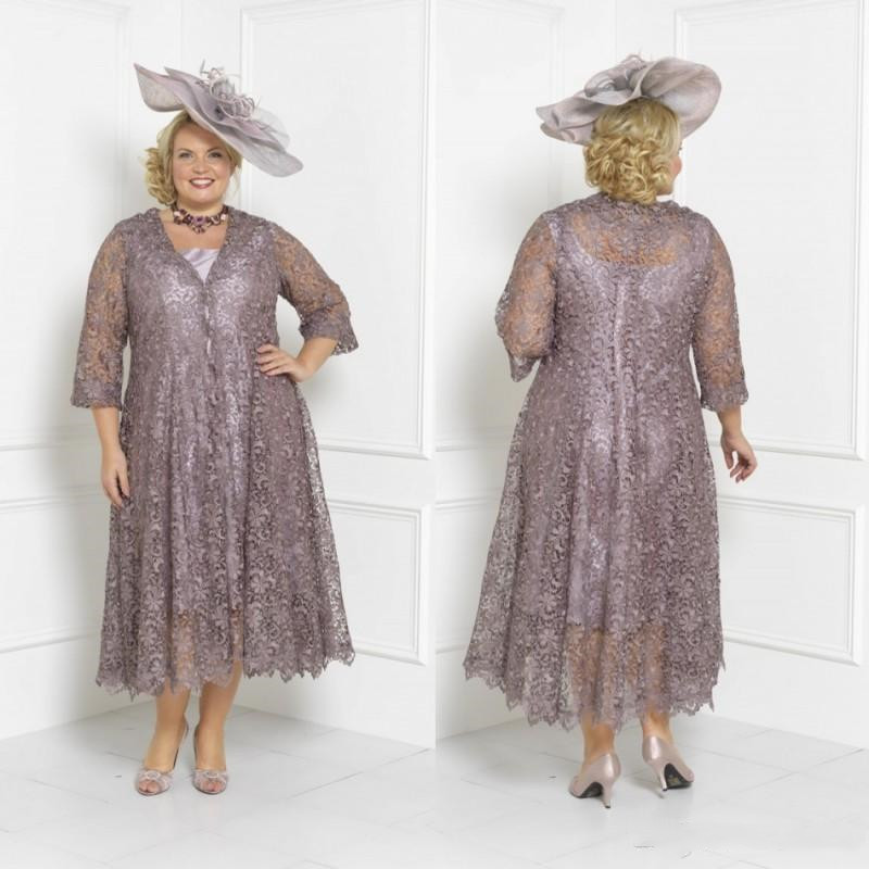 US $137.75 5% OFF|Plus Size Mother Of The Bride Dresses Sleeves Tea Length  Scoop Neck Weddings Guest Custom Mothers Groom Gown With Lace jacket-in ...