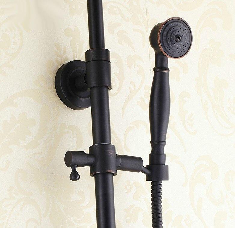 Черный масло натертый латунь стена навесной ванная ванна дождь душ смеситель смеситель краны ручной душ насадка набор ars434