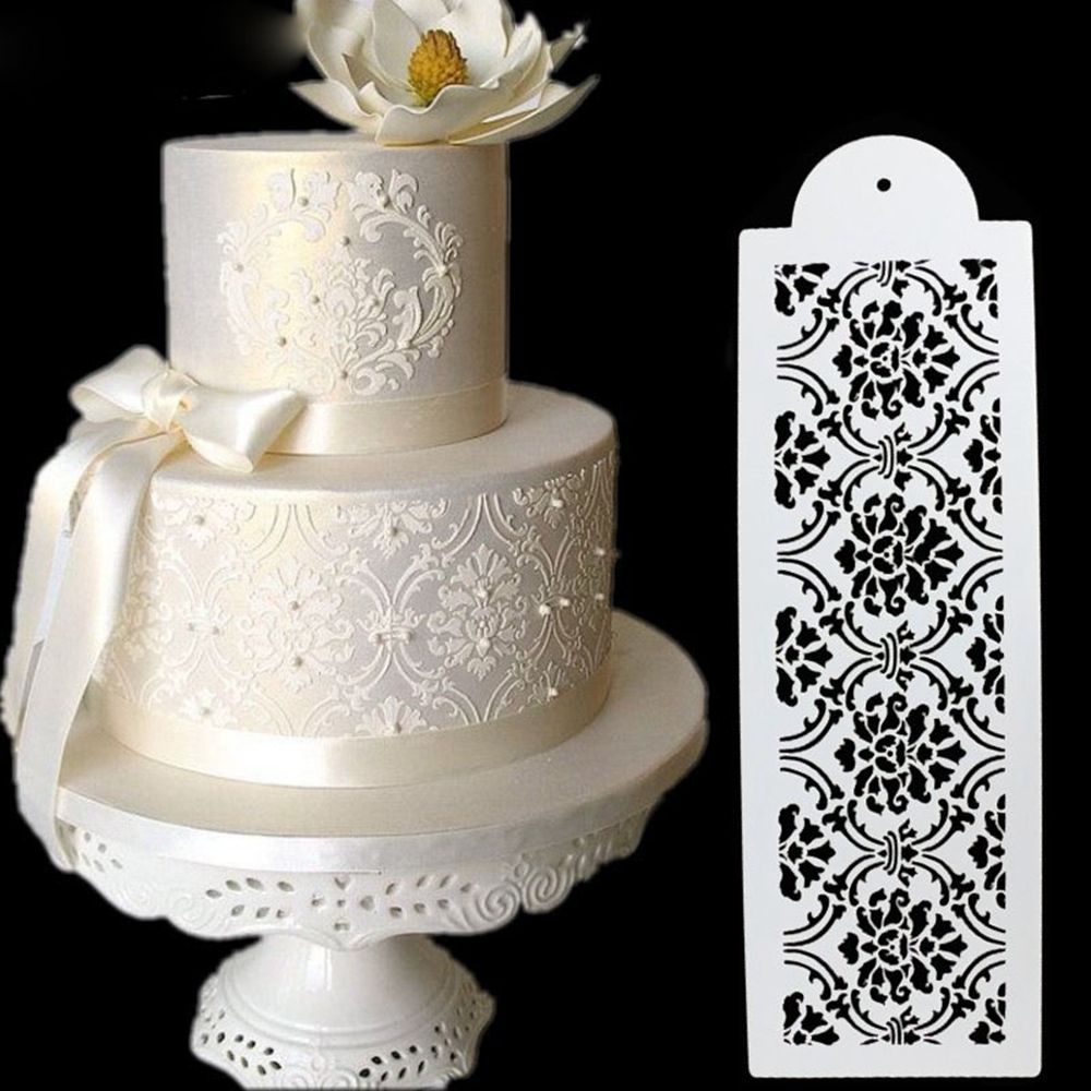 1Pc Fashion Damask Lace Border Birthday Cake Side Cupcake