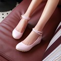 2016 spring women shoes sweet pink girl party shoes elevator shallow mouth low-heeled strap Increased pump student shoes