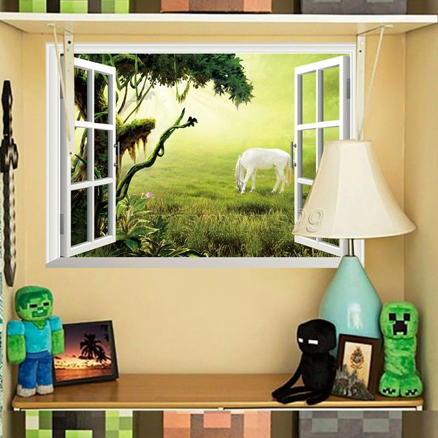 Window Jungle White Horse Scenery Seascape Household Adornment Can ...