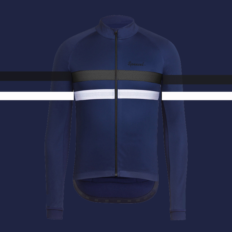 SPEXCEL 2018 Navy with Reflective stripe Winter Windproof Cycling Jacket thermal fleece soft shell Cycling jacket best quality