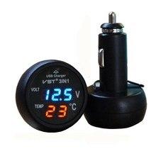 3 в 1 цифровой светодиодный Вольтметр термометр Автомобильный USB зарядное устройство 12 В/24 В измеритель температуры вольтметр прикуриватель