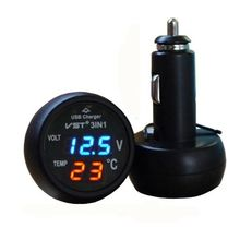 3 in 1 Digital LED car Voltmeter Thermometer Auto Car USB Charger 12V/24V Temperature Meter Voltmeter Cigarette Lighter(China)