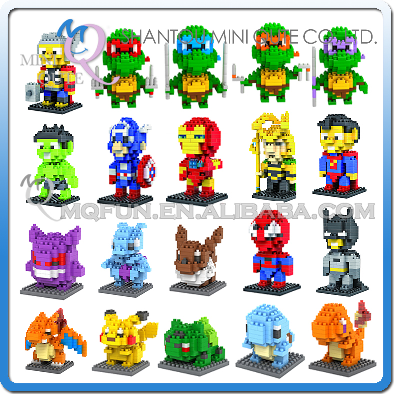 Mini Qute LOZ Marvel avengers Iron Man batman spiderman Pikachu plastic model action figures educational toy, building blocks mini qute full set 2 pcs lot hc zootopia huge nick wilde judy hopps plastic building block cartoon model educational toy no 9011
