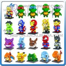 Mini Qute LOZ Marvel avengers Iron Man batman spiderman Pikachu plastic model action figures educational toy, building blocks