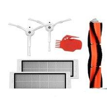 6 peças de aspirador de pó 2 * escova lateral + 2 * filtro hepa + 1 * escova principal + 1 * ferramenta adequada para xiaomi mi robô