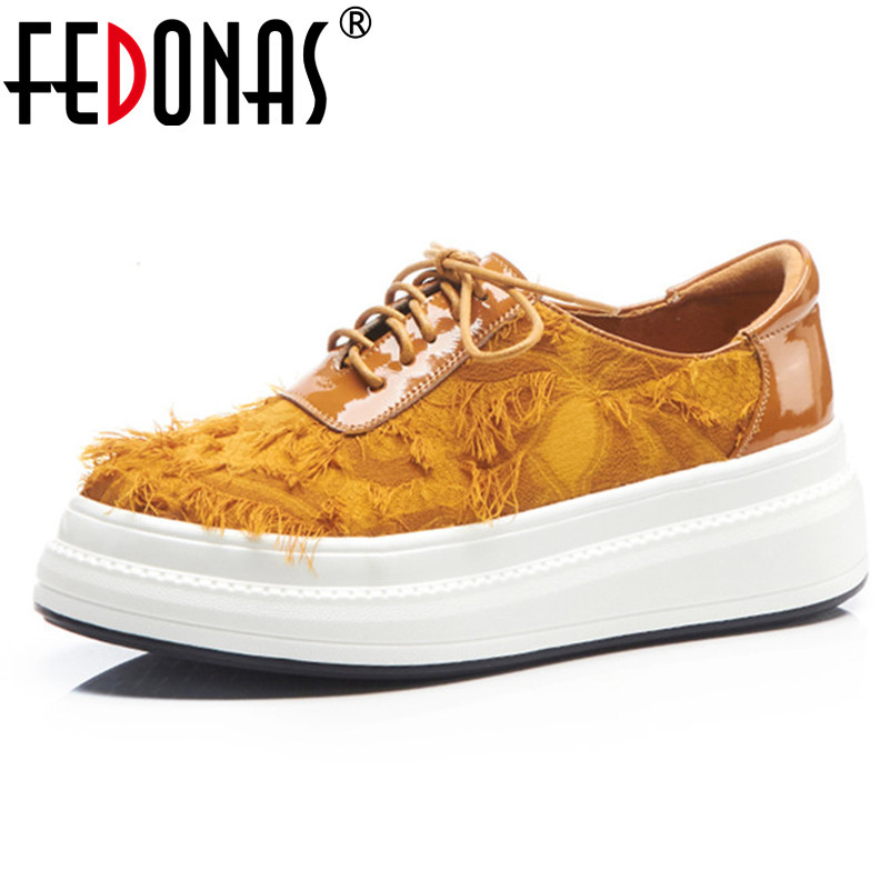 FEDONAS New Women Flats Platforms Round Toe Casual Shoes Women Lace Up Spring Autumn Comfort Flats Ladies New Loafers Shoes asumer black fashion spring autumn ladies shoes round toe lace up casual women flock cow leather shoes flats