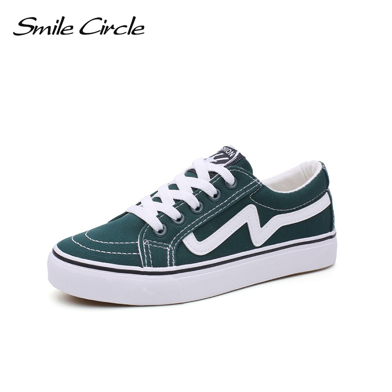 Smile Circle Spring/Summer fashion Sneakers Women Ultra-soft Lace-up Casual Shoes Women Flat Platform Shoes Girl Canvas shoes smile circle spring autumn women shoes casual sneakers for women fashion lace up flat platform shoes thick bottom sneakers