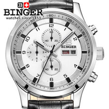 New Binger Dial Chronograph Dual Date Gents Silver Stainless Steel Watch Multifunction Wristwatch Men Leather Quartz