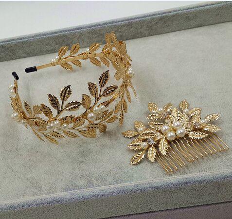 100 handmade cluster metal leaves pearl headbands for wedding bridal hair accessories celebrity