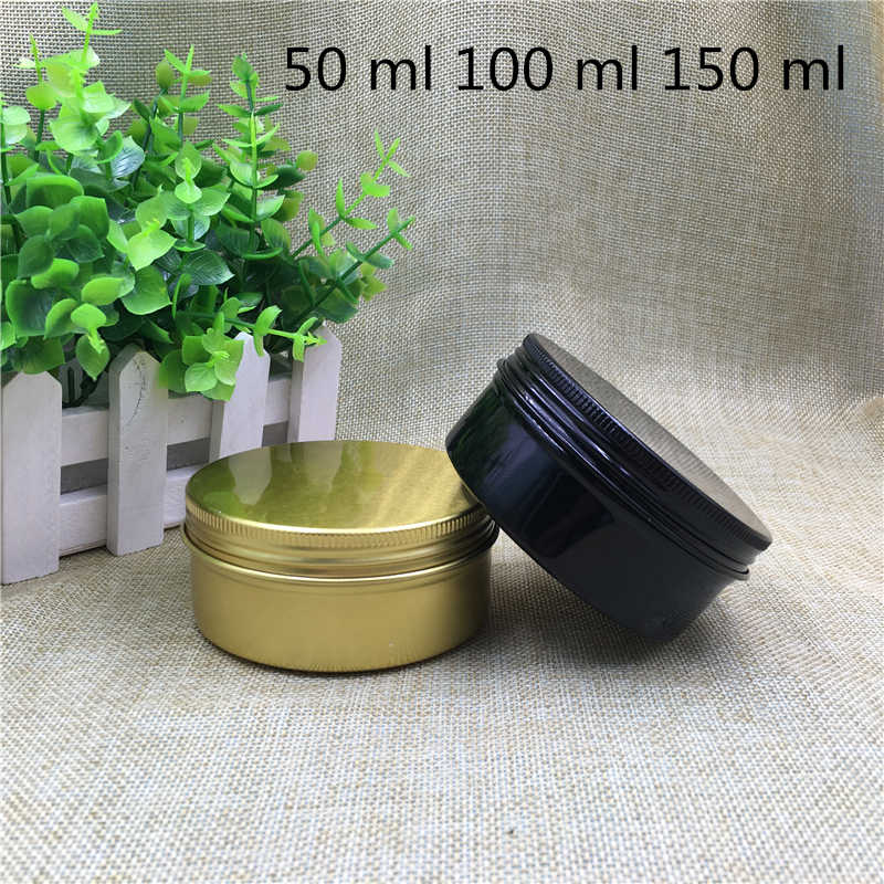 30 pcs Free Shipping 50 100 150 g/ml Empty Gold black Aluminum jar Cans For Spices Candle Cream Sample Pack Bank Containers