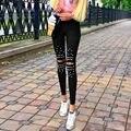 Mulheres Calças Lápis 2016 Primavera Outono Mulheres Da Moda Rebite Buracos Esticar Calças Femininas de Cintura Alta Magras Calças Legging Casuais