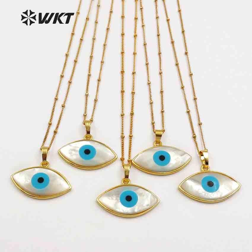 WT JN047 WKT Natural White Shell Evil Eye Pendant With Gold Bezel Women Dainty Shell Jewelry
