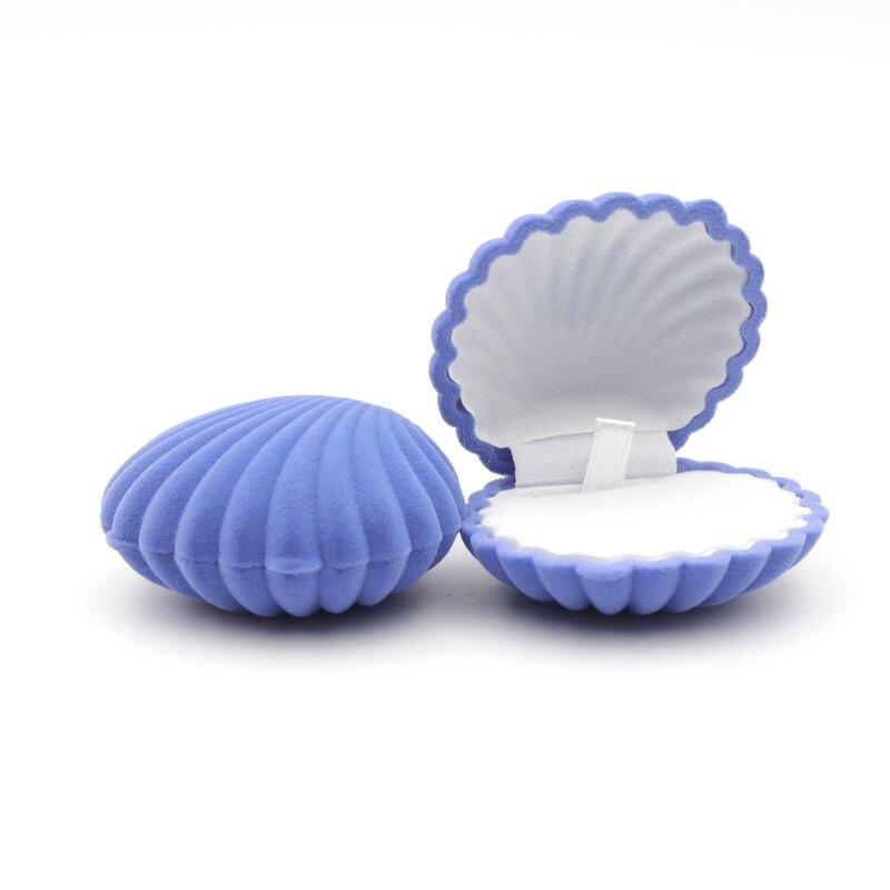 Shell Shape Lovely Velvet Wedding Engagement Ring Box for Earrings Necklace Bracelet Jewelry Display Gift Box Holder 1 Piece