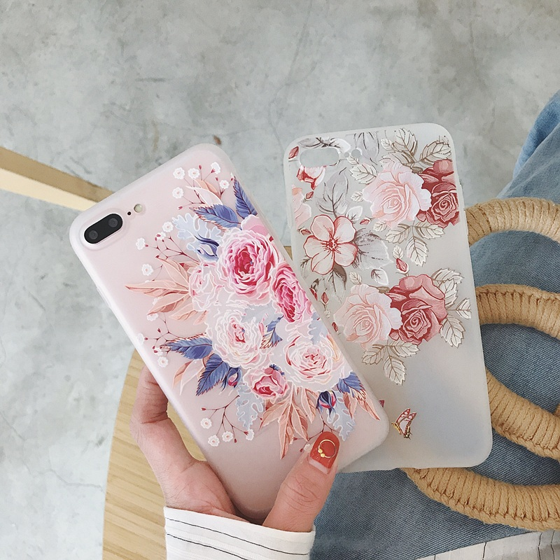 Flower Floral Case For iPhone X XR XS Max 6 6s 7 8 Plus 7Plus 5 5s SE Phone Cases Soft TPU Back Cover For iPhone 7 Coque